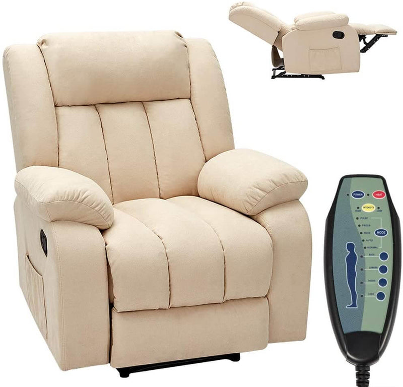 Massage Recliner Chair Fabric Heated Ergonomic Lounge Chair Overstuffed Reclining Chair Single Sofa for Living Room, Remote Control, Beige