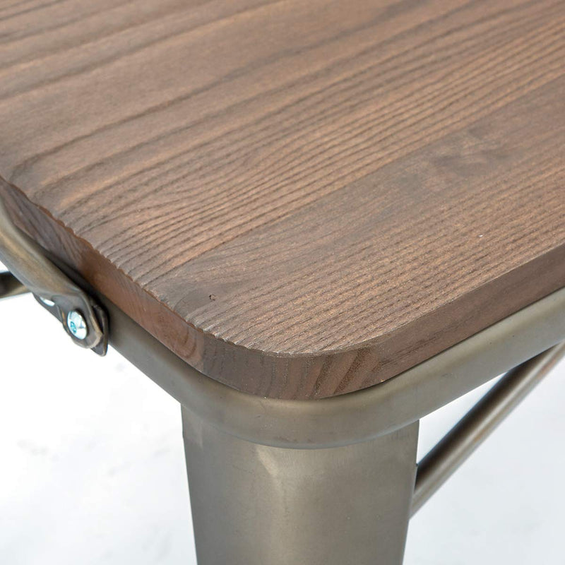 Industrial Metal Bench Wood Seat with Floor Protector