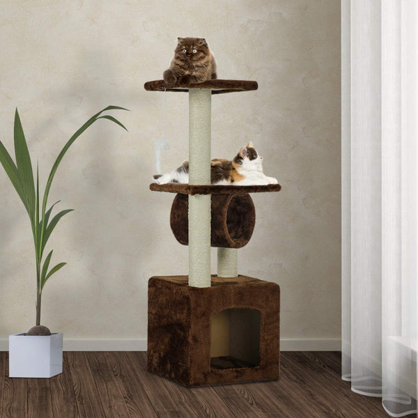 36 inches Multi-Level Cat Tree Furniture with Scratching Posts (Free Gifts)