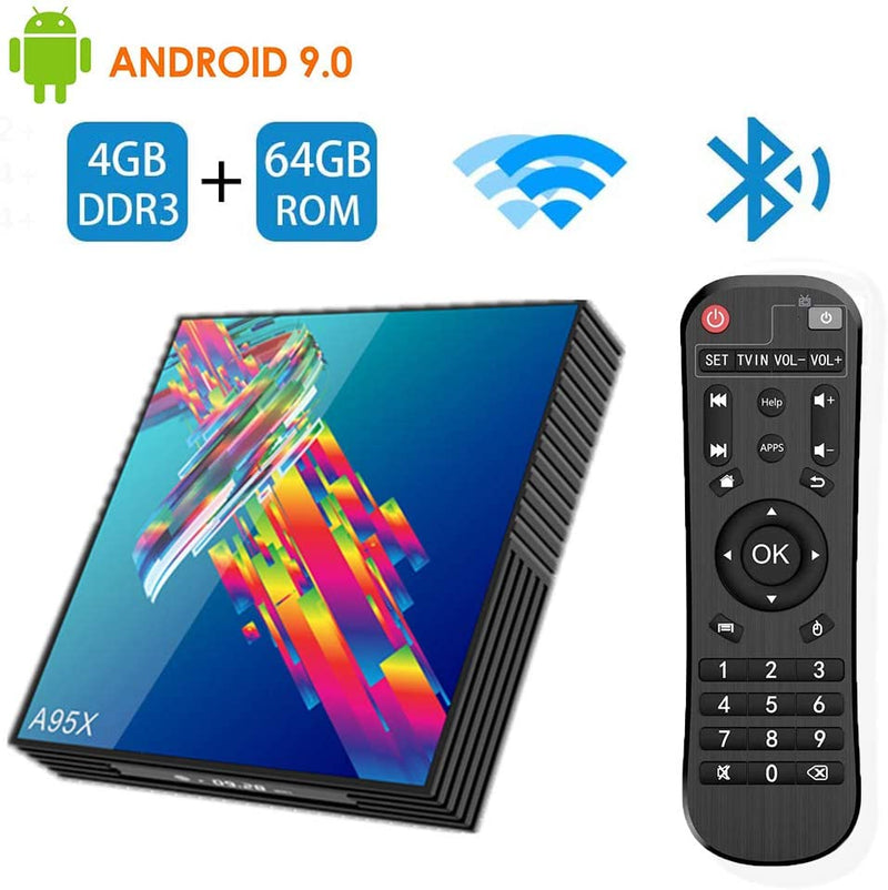 Android 9.0 Smart TV Box, Player Media 6K Resolution 4GB RAM 64GB ROM, RK3318 Chip Quad Core 64-bit, 2.4Ghz+5Ghz WiFi HDMI2.0 USB3.0 Support TF Card