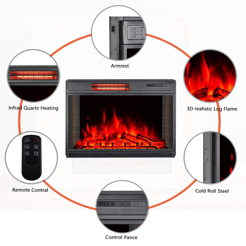 "28""Electric Fireplace Insert, Recessed Mounted Electric Fireplace Heater with Remote Control,Black"