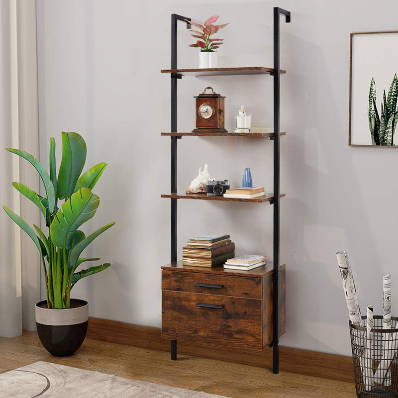 Wall Mouted Industrial 3-Tier Bookshelf with 2 Wood Drawers, Black