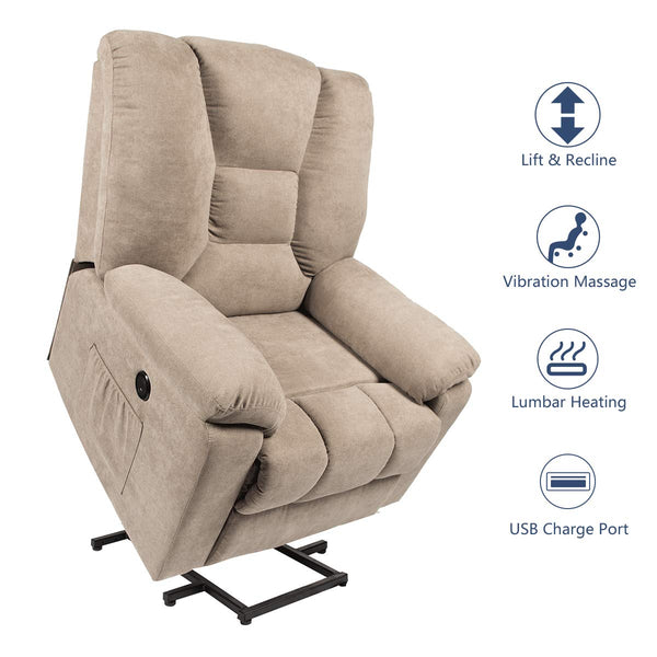 Microfiber Power Lift Electric Recliner Chair with Heated Vibration Massage Sofa Fabric Living Room Chair with 2 Side Pockets, USB Charge Port & Massage Remote Control, Beige Gray