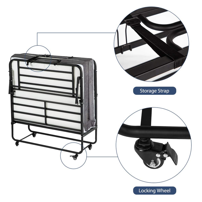 Portable Folding Bed with 5 Inch Memory Foam Mattress