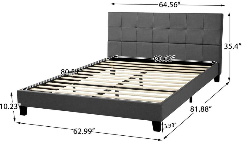 Platform Bed Frame, Queen Size Linen Fabric Bed Frame with Wood Slats Support, Upholstered Platform Bed Mattress Foundation, Easy Assembly (Queen Size/Dark Gray)