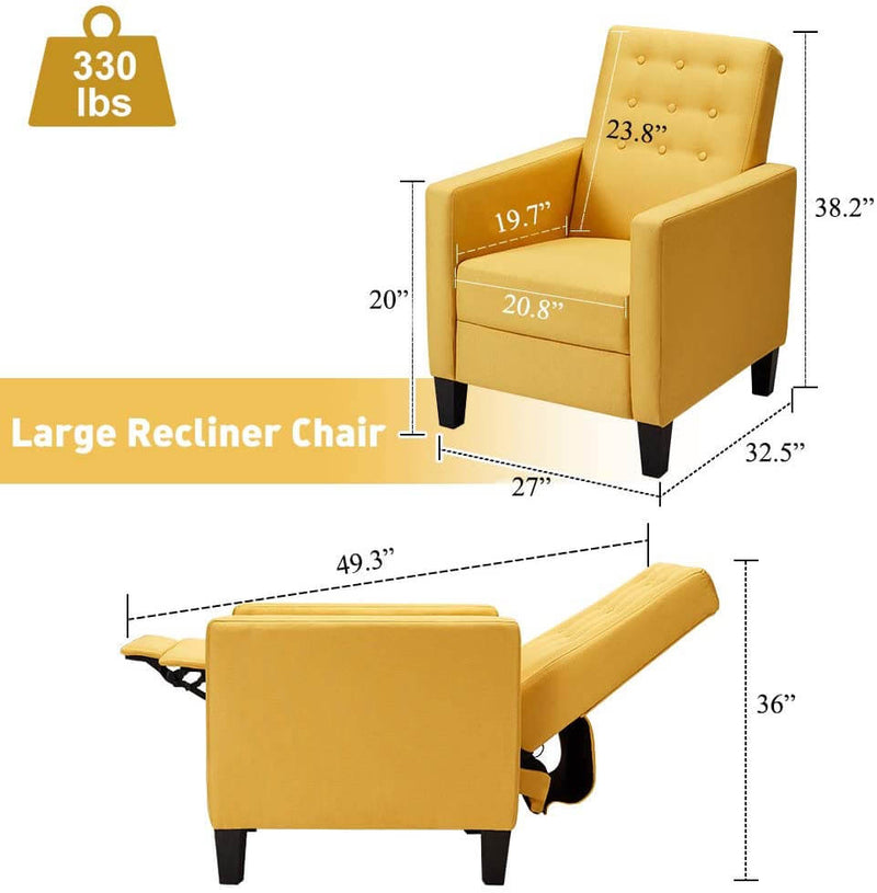 Mid-Century Modern Fabric Recliner with Vibrated Massage, Push Back Recliner Chair w/Side Pocket and Button Tufted Back Single Sofa Chair for Living Room, Yellow