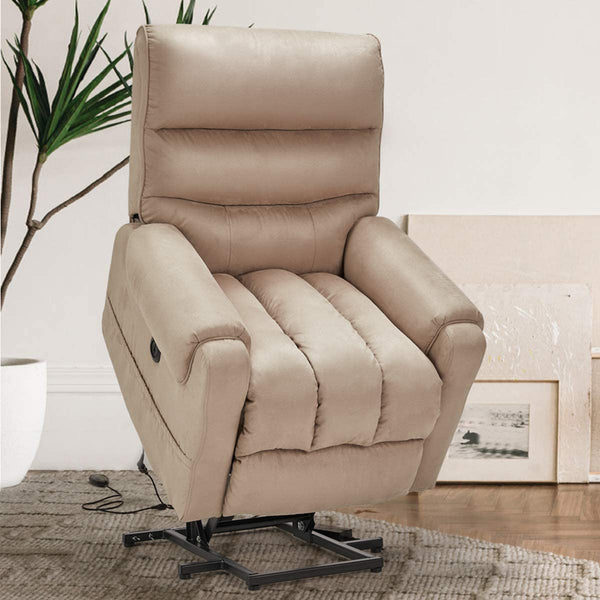 Electric Power Lift Recliner Chair Recliner Sofa for Elderly, Microfiber Recliner Chair with Heated Vibration Massage, 2 Side Pockets and USB Ports, Beige