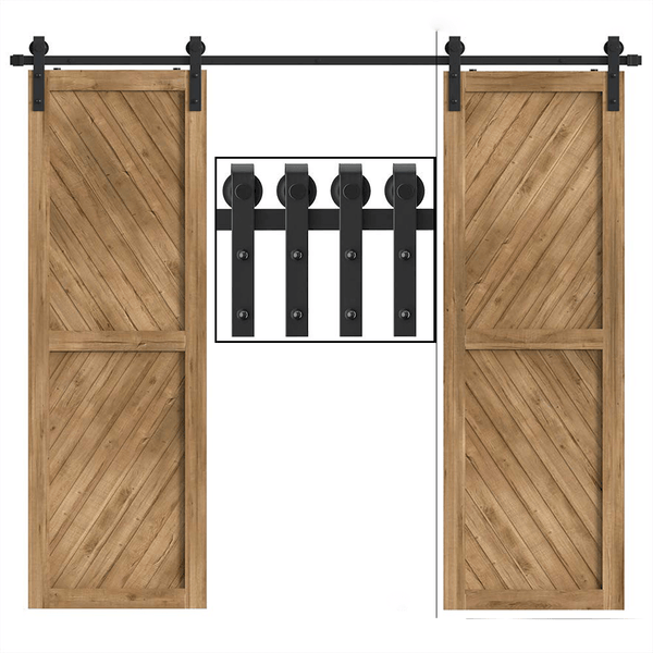 10FT Double Barn Door Hardware Antique J Shape Carbon Steel  Bi-parting System 120inch