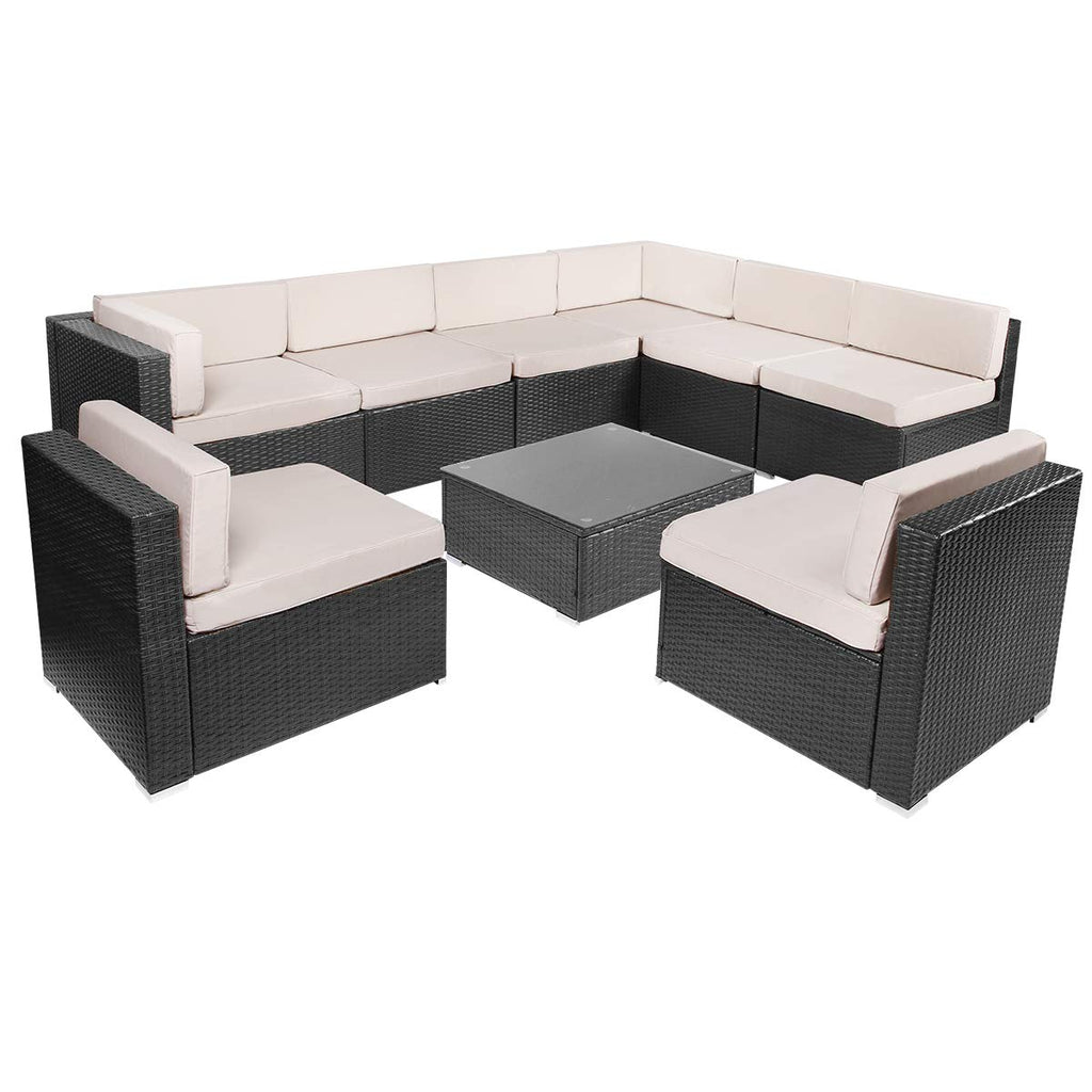 HomHum 9 Pieces Patio PE Rattan Wicker Sofa Set Outdoor Sectional Furniture  Conversation Chairs Set with Cushions and Tea Table Black