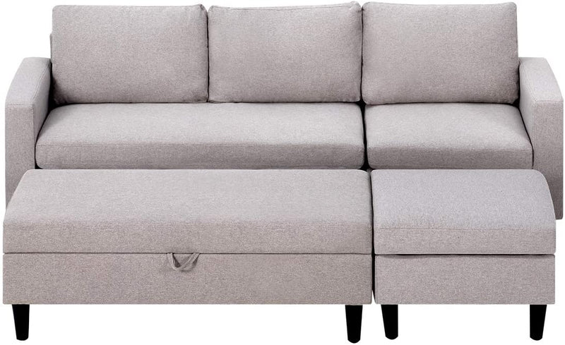 Sectional Sofa with Ottoman and Chaise Lounge, 3-Seat Living Room Furniture Sets, L-Shape Couch Sofa for Living Room,Light Gray