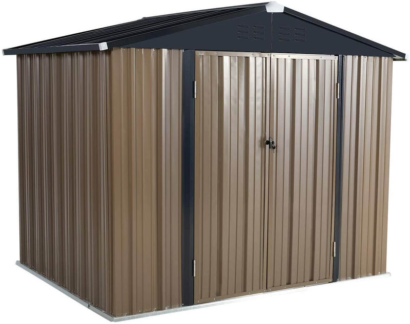 8' x 6' Outdoor Metal Storage Shed, Steel Garden Backyard Sheds with Double Door & Lock, Utility Tool Storage, Gray and Black