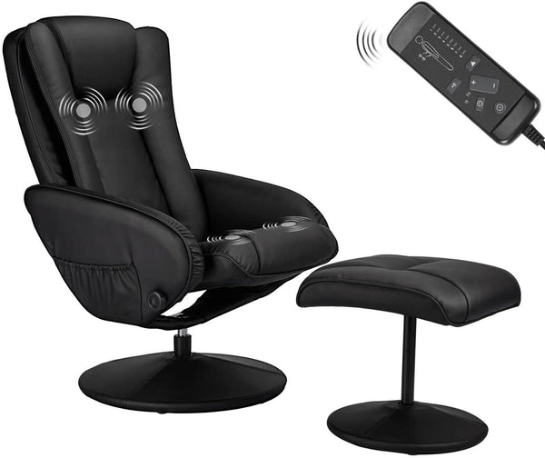 Recliner Chair and Ottoman, 360 Degrees Swivel Ergonomic Faux Leather Lounge Recliner with Footrest, Vibration Massage Lounge Chair with Side Pocket, Black