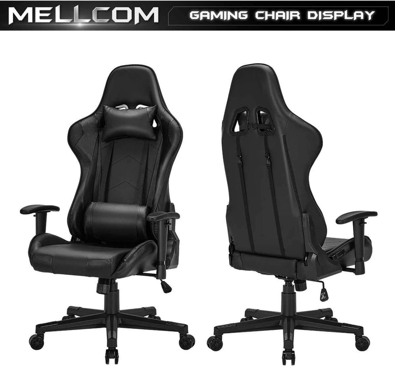 Gaming Chair Computer Game Chair Office Chair Ergonomic High Back PC Desk Chair Height Adjustment Swivel Rocker with Headrest and Lumbar Support Lumbar Pillow (Black)