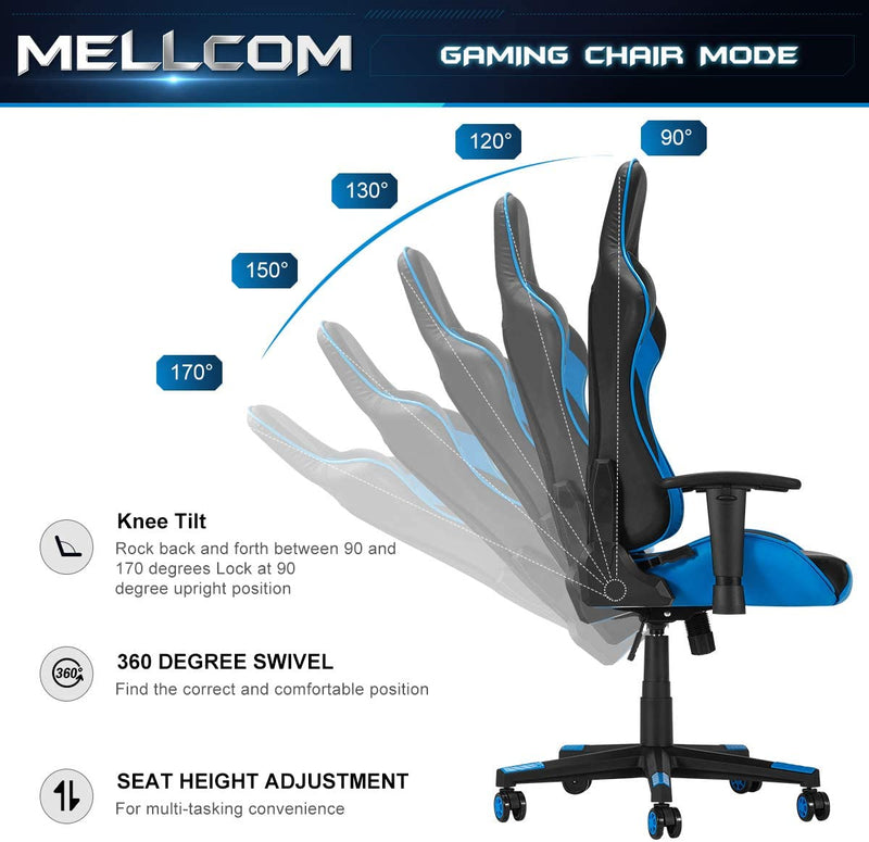 Gaming Chair Racing Office Chair, Ergonomic High Back Desk Chair Height Adjustment Swivel Rocker with Headrest and Lumbar Support Pillow (Blue)