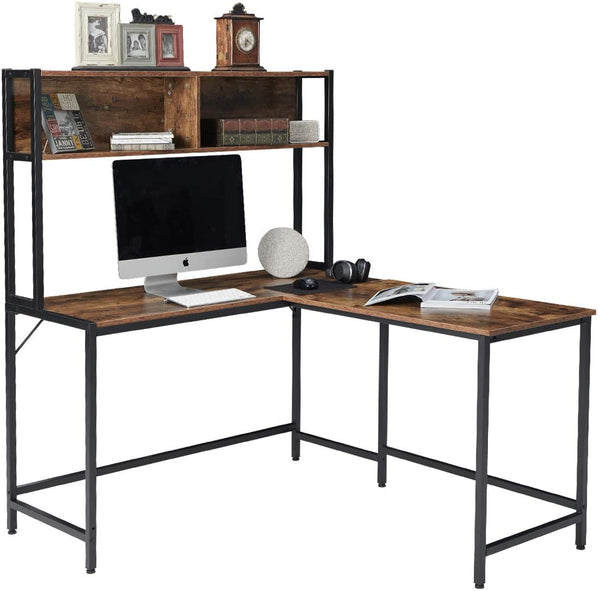 Computer Desk with Hutch Space-Saving Corner Desk with Storage Shelves 55 Inch L-Shaped
