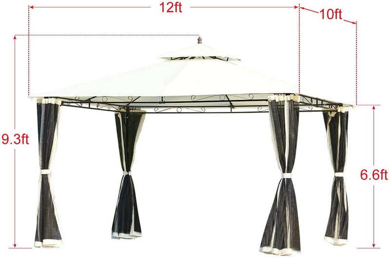 10 x 12 FT Double-Roof Softtop Gazebo Canopy, Outdoor Steel Frame Gazebo with Mosquito Netting, Cream