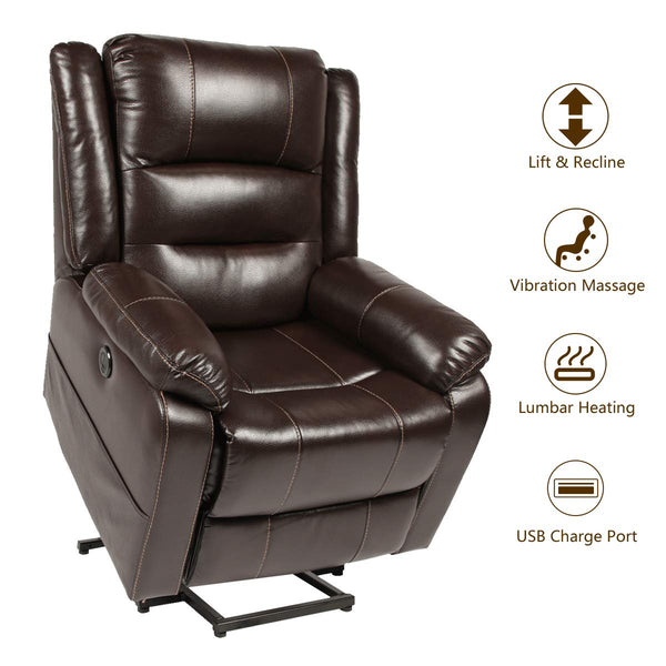 Power Lift Chair Faux Leather Electric Recliner for Elderly, Heated Vibration Massage Sofa with Side Pockets, USB Charge Port & Remote Control, Dark Brown