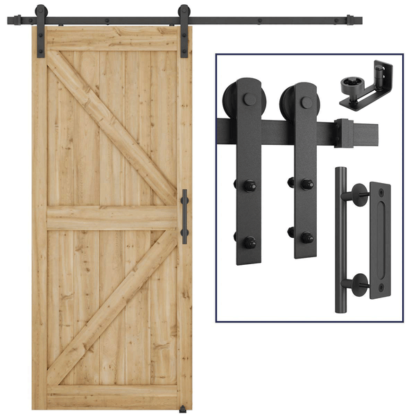 Single Barn Door Hardware Whole Kit Easy to Install I Shape 5-12FT