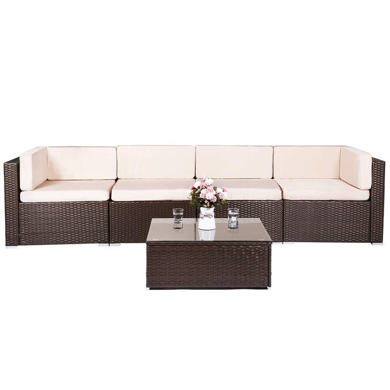 5 Pieces Brown Patio PE Rattan Wicker Sofa Set Outdoor Sectional Furniture Chair Set with Cushions and Tea Table Brown