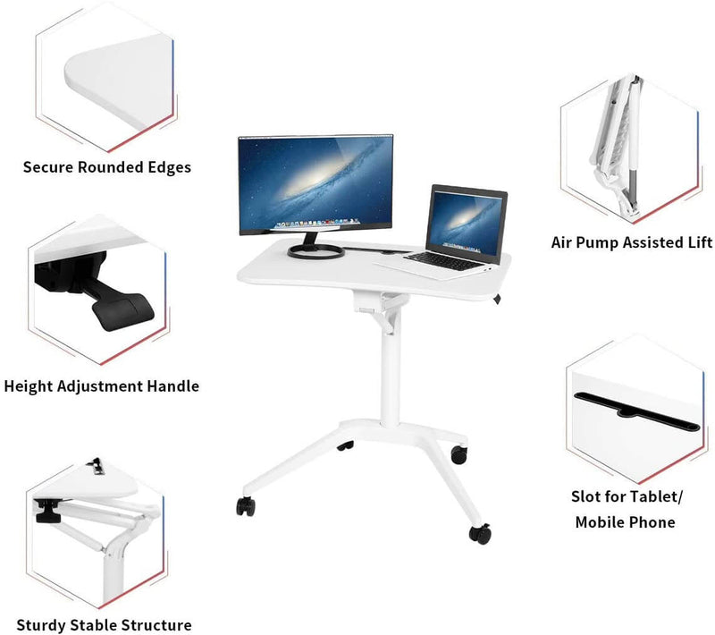 Adjustable Height Laptop Desk Multifunctional Mobile Podium, Sturdy and Ergonomic, White