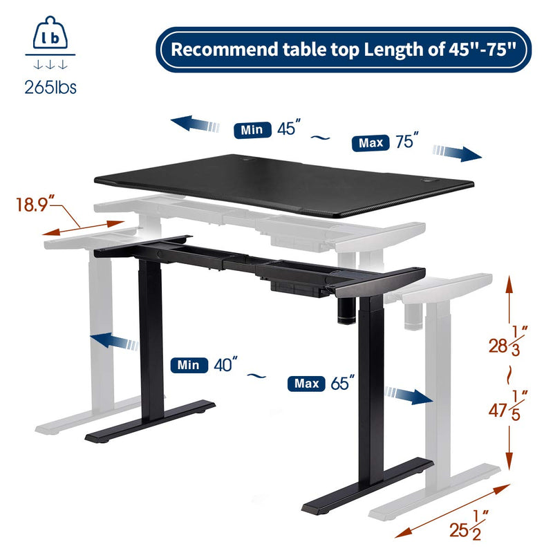 Electric Stand Up Desk Frame Height Adjustable Standing Base Single Motor