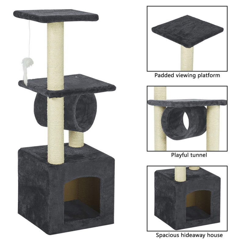 36 inches Multi-Level Cat Tree Furniture Kittens Activity Tower Grey (Free Gifts)