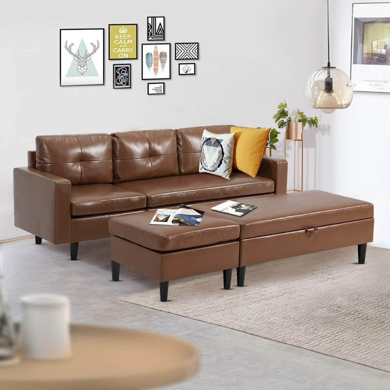 Small Faux Leather Sectional Sofa with Storage Ottoman and Chaise Lounge, 3-Seat Living Room Furniture Sets for Small Apartment, Brown