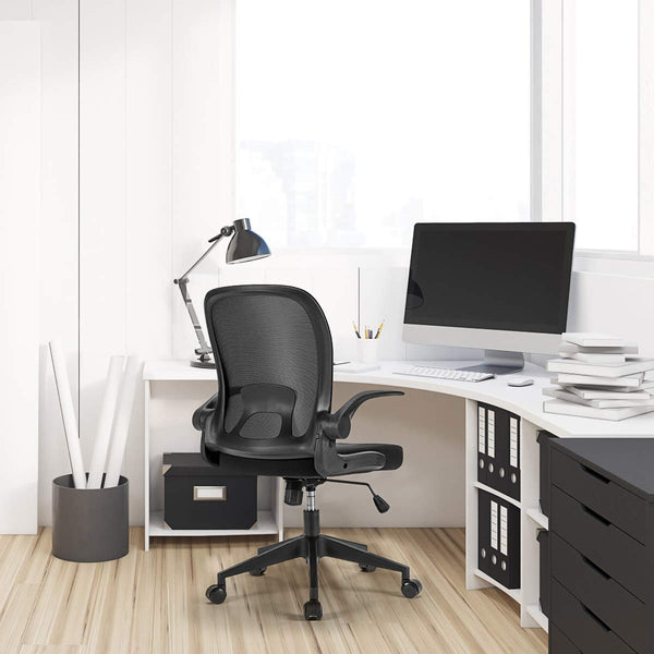 Swivel Office Chair Folding Back Adjustable Height (Black)