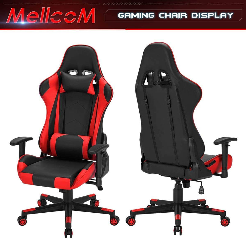 Gaming Chair Racing Office Chair, Ergonomic High Back Desk Chair Height Adjustment Swivel Rocker with Headrest and Lumbar Support Pillow (Red)