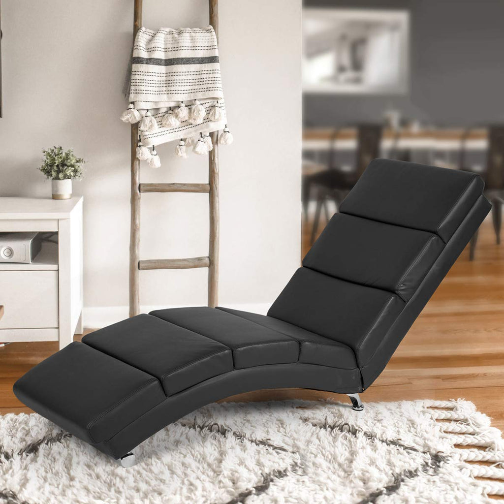 Homhum Massage Chaise Lounge Couch Black Modern Indoor Chaise Lounge Chair Living Room Chaise Lounger With Vibration Heat Fuction