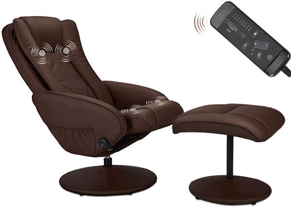 Recliner Chair and Ottoman, 360 Degrees Swivel Ergonomic Faux Leather Lounge Recliner with Footrest, Vibration Massage Lounge Chair with Side Pocket, Brown