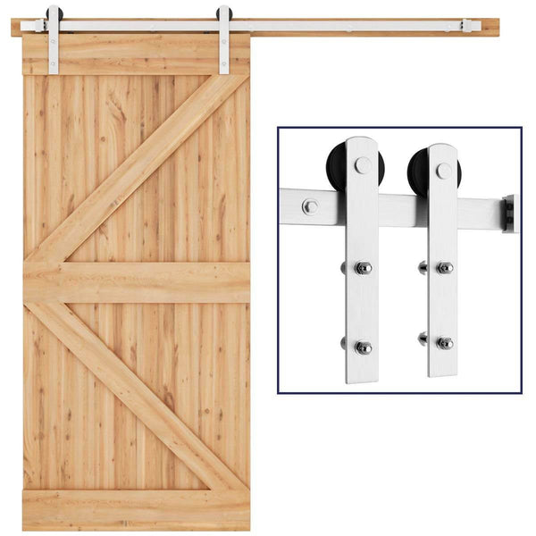 Interior Basic Hanging Stainless Steel Sliding Barn Door Hardware Track Kit I Shape 6.6 Ft