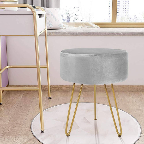 Velvet Footrest Ottoman Round Modern Upholstered Vanity Footstool Side Table Seat Dressing Chair with Golden Metal Leg, Gray