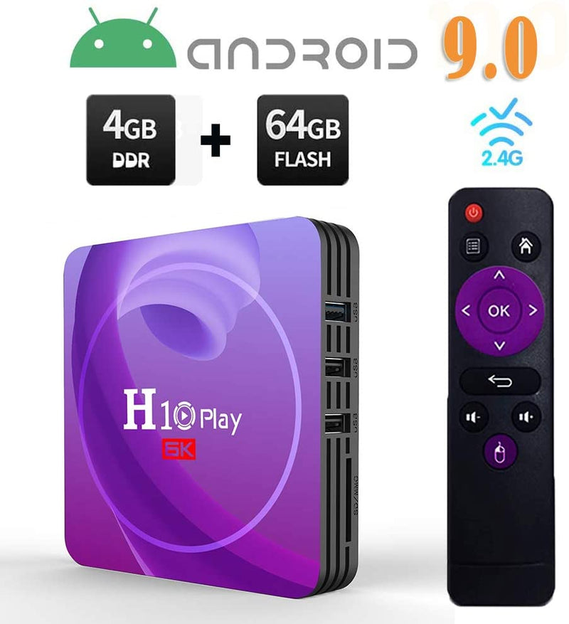 H10 Play Android 9.0 Smart TV Box 8K Resolution 4GB RAM 32GB/64GB ROM WiFi ALLwinner H6 TV Box 6K Quad Core DMI2.0 USB3.0