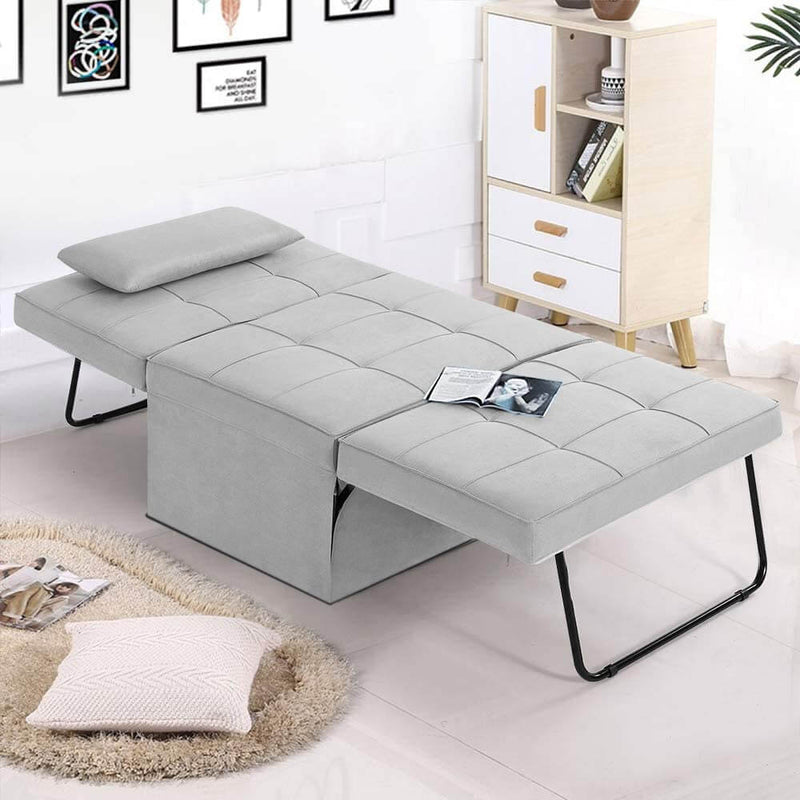 Folding Ottoman Sleeper Guest Bed, 4 in 1 Multi-Function Adjustable Guest Sofa Chair Sofa Bed with Pillow, Light Gray