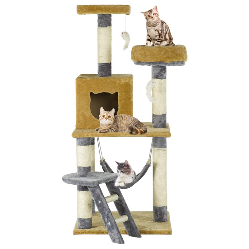 57 inches Multi-Level Cat Tree Stand House Furniture Kittens Activity Tower (Free Gifts)