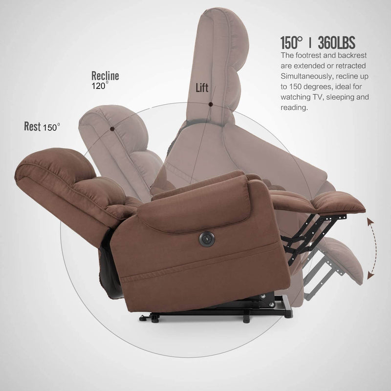 Electric Power Lift Recliner Chair Recliner Sofa for Elderly, Microfiber Recliner Chair with Heated Vibration Massage, 2 Side Pockets and USB Ports, Brown