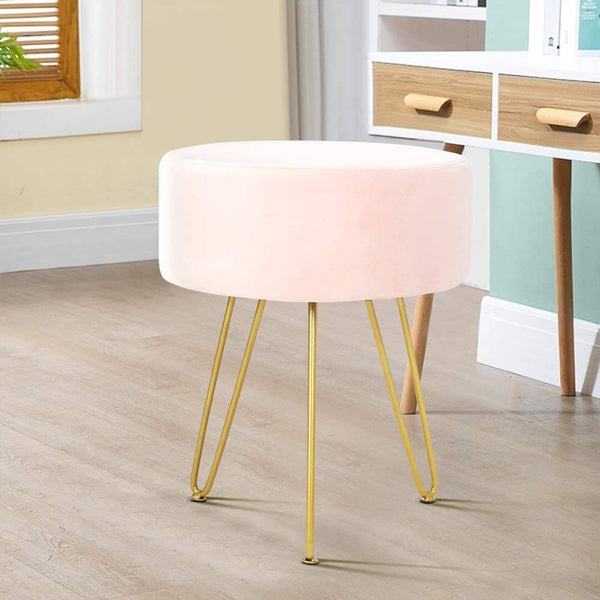 Velvet Footrest Ottoman Round Modern Upholstered Vanity Footstool Side Table Seat Dressing Chair with Golden Metal Leg, Pink