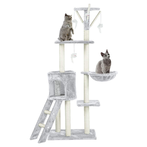 56 inches Multi-Level Cat Tree Condo Cat Deluxe Cat Tower Kitten Play House (Free Gifts)