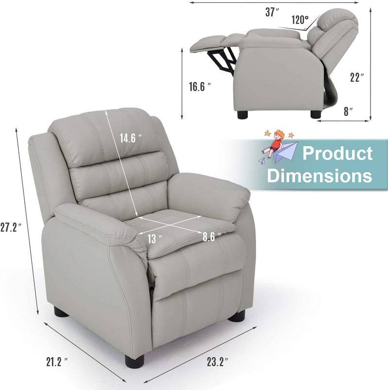 Kids Recliner Chair, Children Recliner PU Leather Armchair for Toddler Boys Girls, Lightweight Sofa Chair, 4+ Age Group, Gray