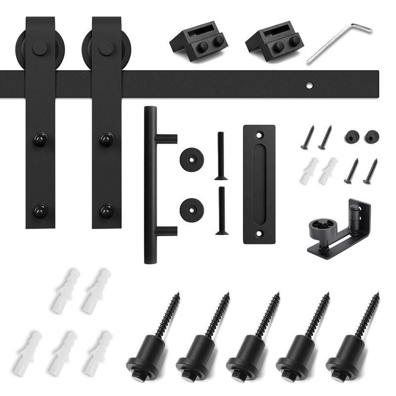 6.6 Ft Classic Sturdy Sliding Barn Door Hardware Kit With Spruce Door (Whole Set, J Shape)