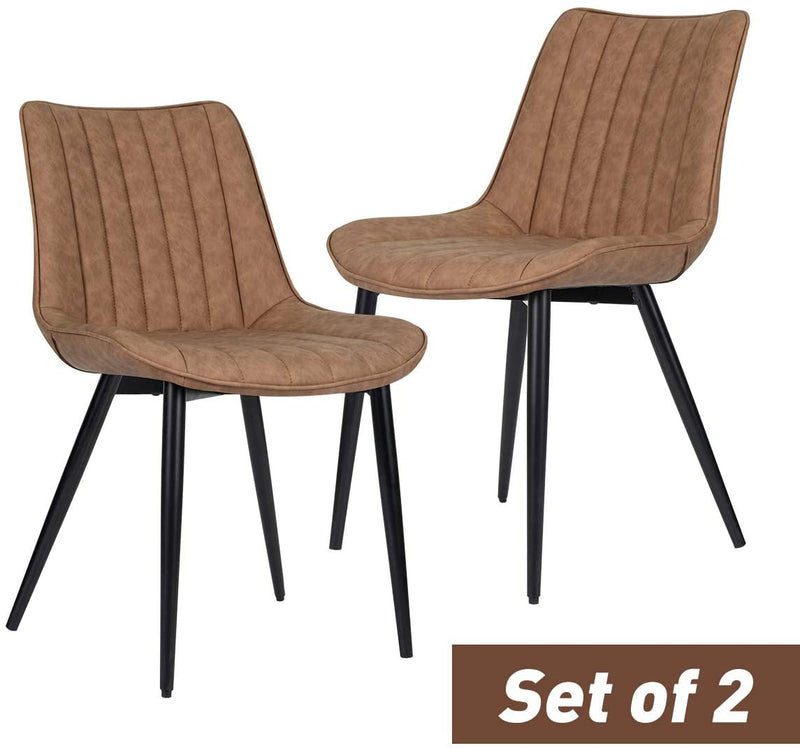 Faux Leather Dining Chairs Set of 2 Modern Leisure Upholstered Chair Brown