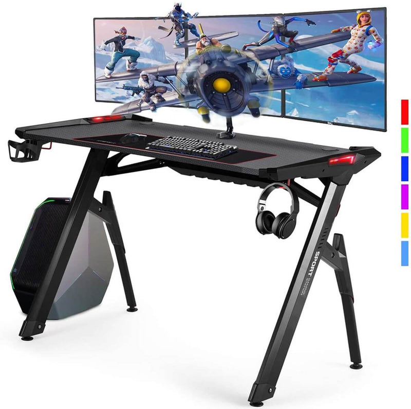 "47"" Ergonomic Gaming Desk Home Office Desk RGB LED Light PC Computer Table with Cup Holder & Headphone Hook, Racing Gaming Table, Black"