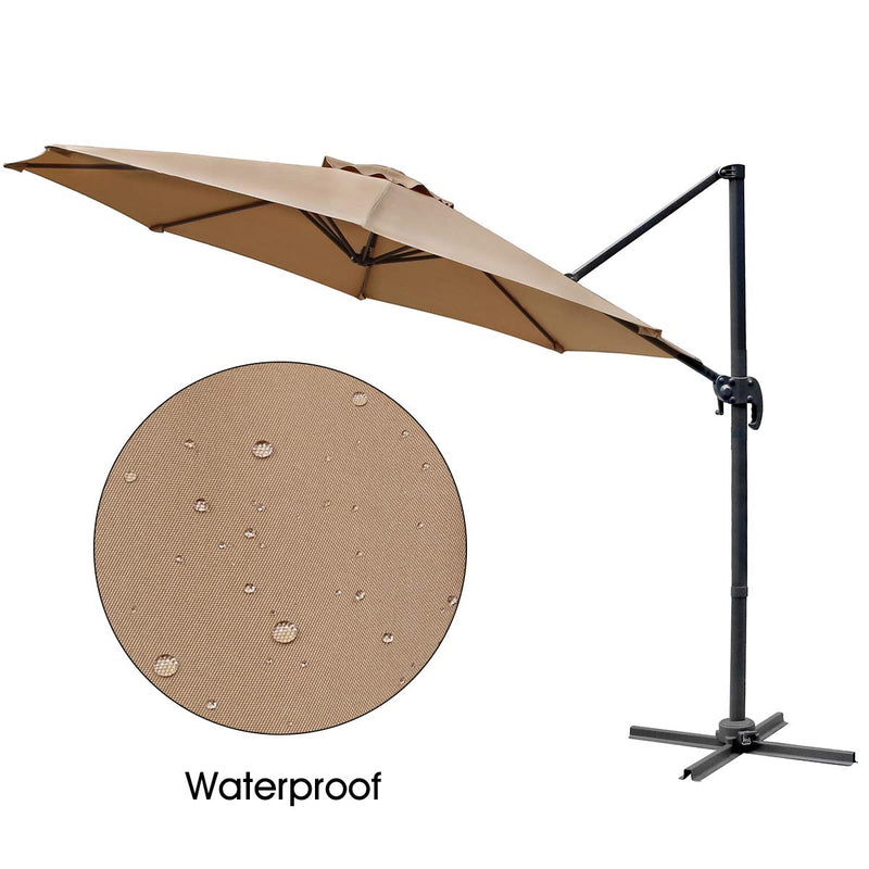Patio 10 FT Cantilever Offset Umbrella Outdoor Hanging Umbrella 360° Rotation with Cross Base, Beige