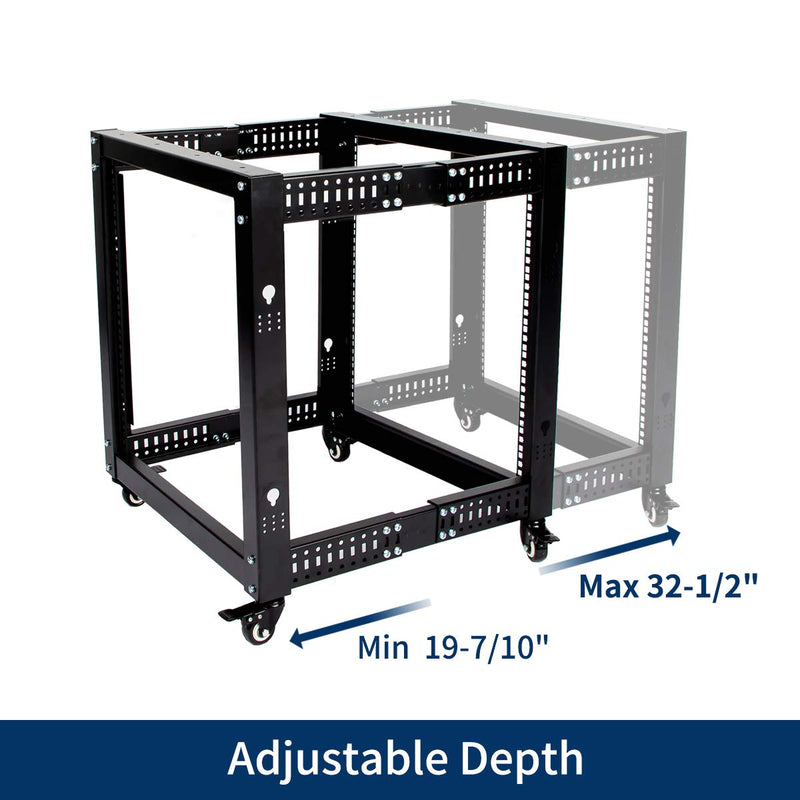 12U Network Rack Open Frame Server Rack Shelf Adjustable Depth with Casters