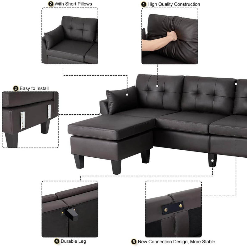 4-Seat Sectional Sofa Convertible Couch Black Reversible L-Shape Couch for Living Room, Living Room Furniture Sets with Chaise Lounge for (Black Coffee)