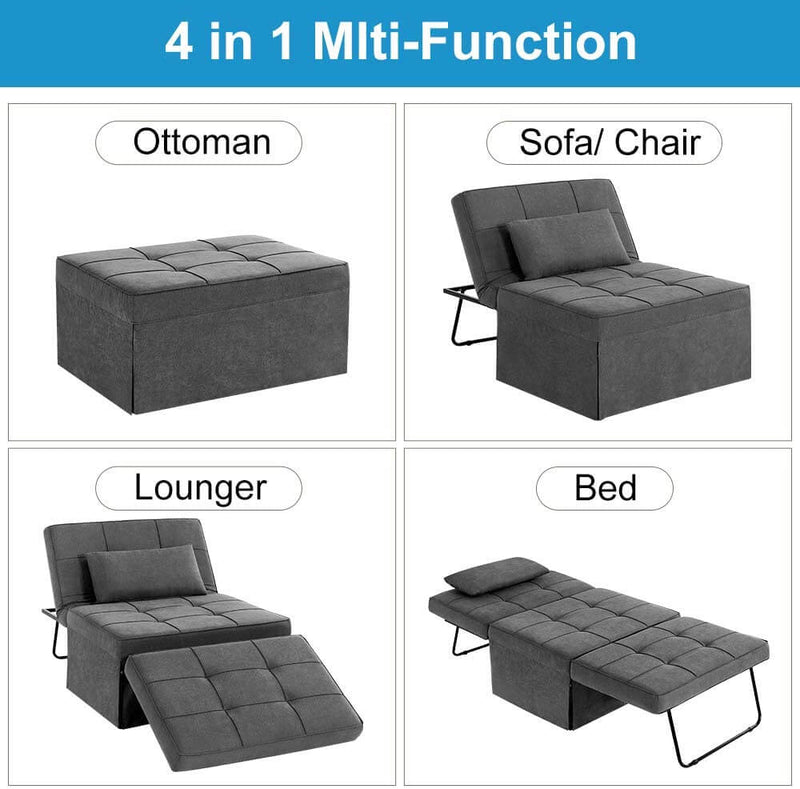 Folding Ottoman Sleeper Guest Bed, 4 in 1 Multi-Function Adjustable Guest Sofa Chair Sofa Bed with Pillow, Dark Gray
