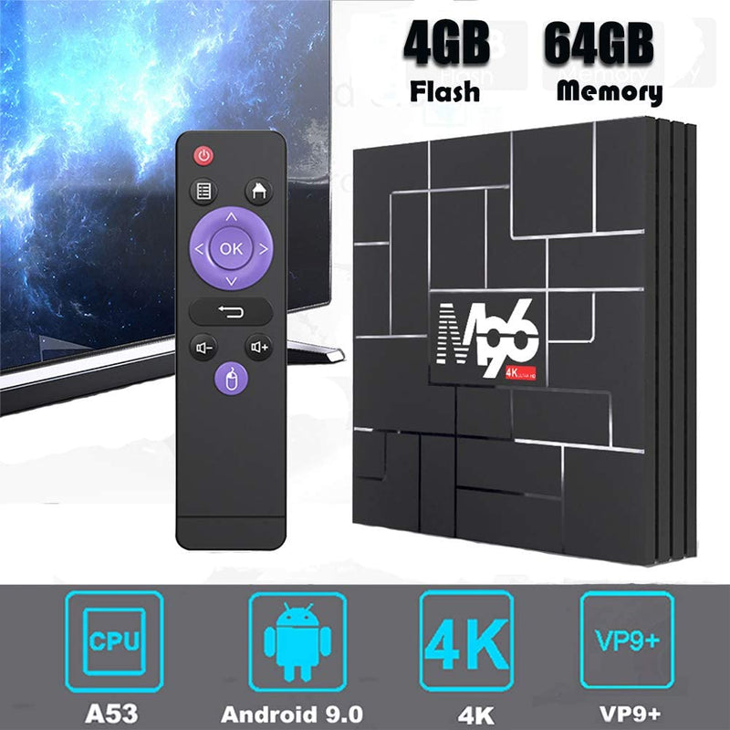 Android 9.0 TV Box,4GB RAM 64GB ROM,Android TV Box Quad-core Cortex-A53 Dual WiFi 2.4G/5G,Bluetooth 3D 4K Ultra HD H.265 USB 3.0 Android Box