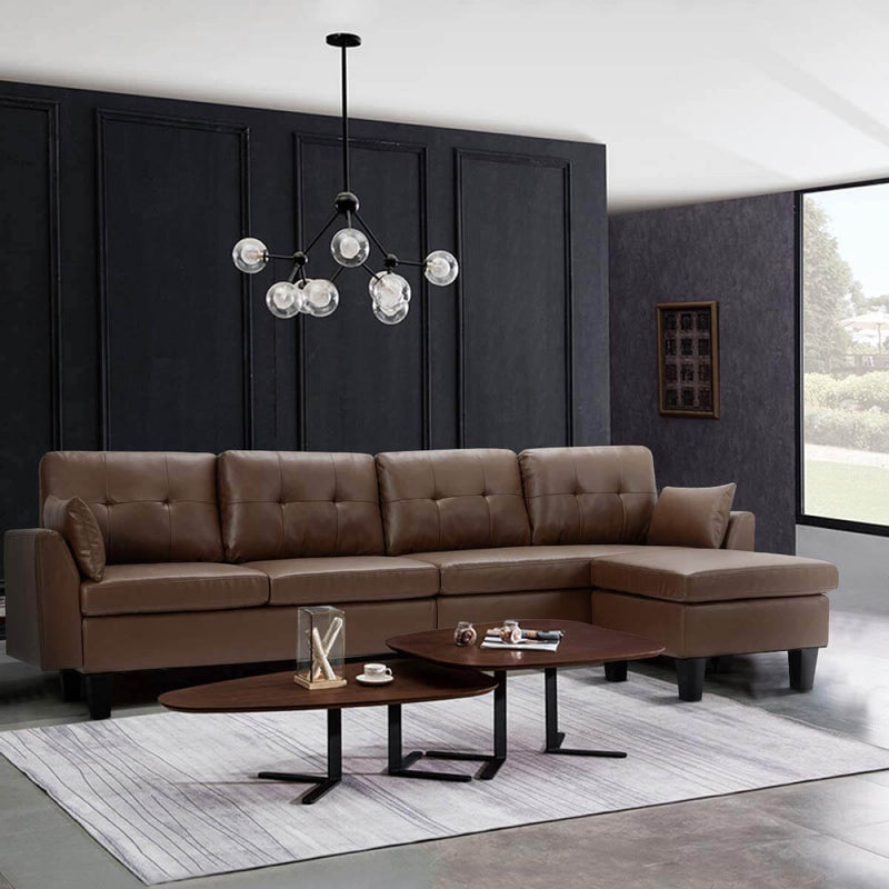 4-Seat Sectional Sofa Convertible Couch Brown Faux Leather Reversible L-Shape Couch for Living Room, Living Room Furniture Sets with Chaise Lounge for Apartment