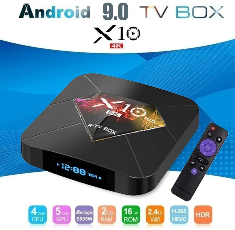 Android 9.0 TV Box,X10 Plus Smart TV Box, H6 2.4G WiFi 4GB RAM 64GB ROM Set,USB3.0 H.265 6K Media Player Support TF Card